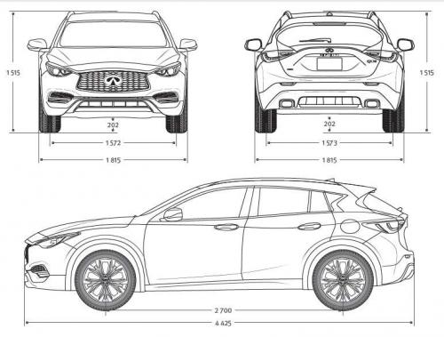 Szkic techniczny Infiniti QX30 Luxe Tech - Luxury Car Rental Mestenza Tricity Rafał Grzebin